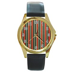 Festive Stripe Round Leather Watch (gold Rim)  by Colorfulart23