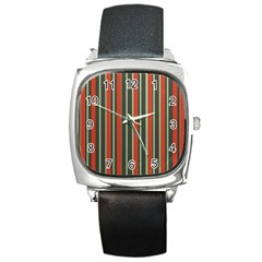 Festive Stripe Square Leather Watch by Colorfulart23