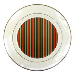 Festive Stripe Porcelain Display Plate by Colorfulart23