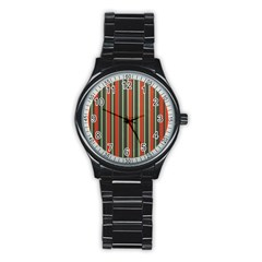 Festive Stripe Sport Metal Watch (black) by Colorfulart23