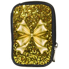 Golden Sequins And Bow Compact Camera Leather Case by ElenaIndolfiStyle