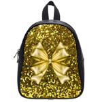 Golden sequins and bow School Bag (Small) Front