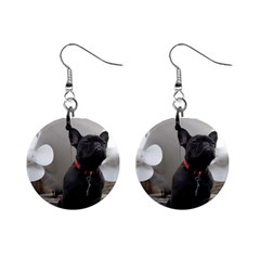 French Bulldog With Boat  Mini Button Earrings
