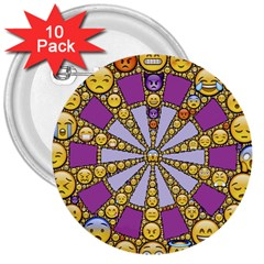 Circle Of Emotions 3  Button (10 Pack) by FunWithFibro