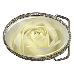 Cream Rose Belt Buckle (oval) by Colorfulart23