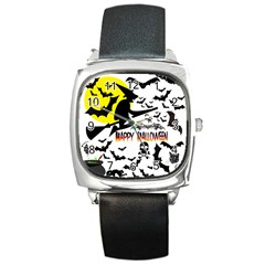 Happy Halloween Collage Square Leather Watch by StuffOrSomething