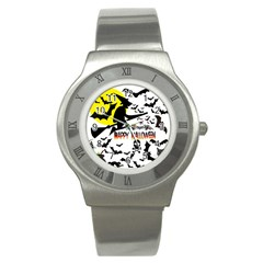 Happy Halloween Collage Stainless Steel Watch (slim) by StuffOrSomething
