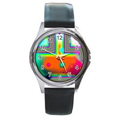 Crossroads Of Awakening, Abstract Rainbow Doorway  Round Leather Watch (silver Rim) by DianeClancy