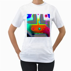 Crossroads Of Awakening, Abstract Rainbow Doorway  Women s Two Sided T Shirt (white) by DianeClancy