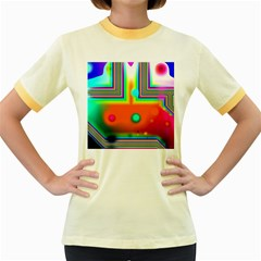 Crossroads Of Awakening, Abstract Rainbow Doorway  Women s Ringer T-shirt (colored) by DianeClancy