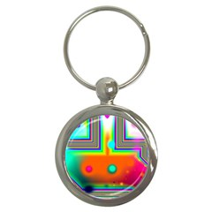 Crossroads Of Awakening, Abstract Rainbow Doorway  Key Chain (round) by DianeClancy