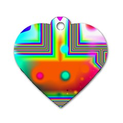 Crossroads Of Awakening, Abstract Rainbow Doorway  Dog Tag Heart (two Sided) by DianeClancy