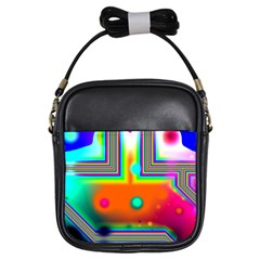 Crossroads Of Awakening, Abstract Rainbow Doorway  Girl s Sling Bag by DianeClancy