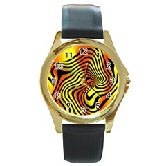 Colored Zebra Round Leather Watch (gold Rim)  by Colorfulart23