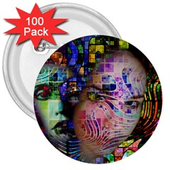 Artistic Confusion Of Brain Fog 3  Button (100 Pack) by FunWithFibro
