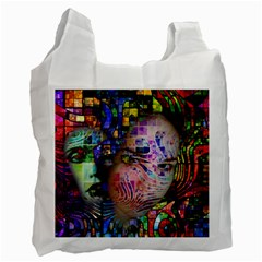 Artistic Confusion Of Brain Fog White Reusable Bag (one Side) by FunWithFibro