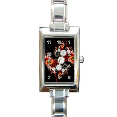 Mysterious Dance In Orange, Gold, White In Joy Rectangular Italian Charm Watch by DianeClancy