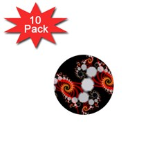 Mysterious Dance In Orange, Gold, White In Joy 1  Mini Button (10 Pack)