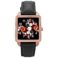 Mysterious Dance In Orange, Gold, White In Joy Rose Gold Leather Watch  by DianeClancy