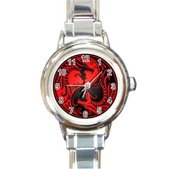 Yin Yang Dragons Red And Black Round Italian Charm Watch