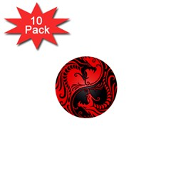 Yin Yang Dragons Red And Black 1  Mini Button (10 Pack) by JeffBartels