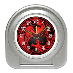 Yin Yang Dragons Red And Black Desk Alarm Clock