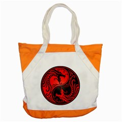 Yin Yang Dragons Red And Black Accent Tote Bag by JeffBartels