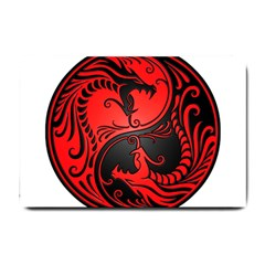 Yin Yang Dragons Red And Black Small Door Mat by JeffBartels