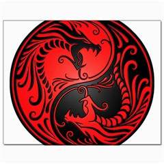 Yin Yang Dragons Red And Black Canvas 11  X 14  (unframed)
