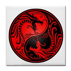Yin Yang Dragons Red And Black Face Towel by JeffBartels