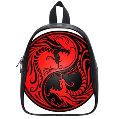 Yin Yang Dragons Red And Black School Bag (small) by JeffBartels