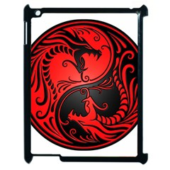 Yin Yang Dragons Red And Black Apple Ipad 2 Case (black) by JeffBartels