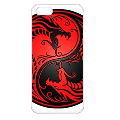 Yin Yang Dragons Red And Black Apple Iphone 5 Seamless Case (white) by JeffBartels