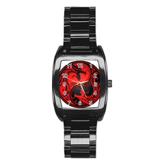 Yin Yang Dragons Red And Black Stainless Steel Barrel Watch