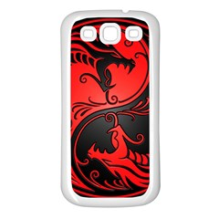 Yin Yang Dragons Red And Black Samsung Galaxy S3 Back Case (white) by JeffBartels