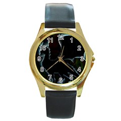 Dragon Aura Round Leather Watch (gold Rim)  by StuffOrSomething