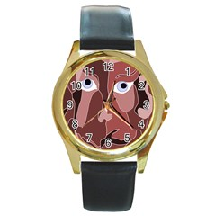 Abstract God Lilac Round Leather Watch (gold Rim)
