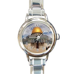 The Dome Of The Rock  Round Italian Charm Watch by AlfredFoxArt
