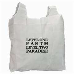 Level One Earth White Reusable Bag (two Sides) by AlfredFoxArt
