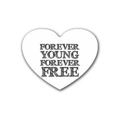 Forever Young Drink Coasters (heart) by AlfredFoxArt