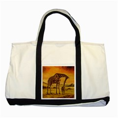 Giraffe Mother & Baby Two Toned Tote Bag by ArtByThree