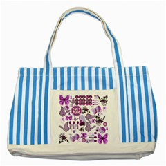 Fms Mash Up Blue Striped Tote Bag by FunWithFibro