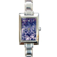 Pink And Blue Morning Frost Fractal Rectangular Italian Charm Watch