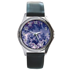 Pink And Blue Morning Frost Fractal Round Leather Watch (silver Rim) by Artist4God