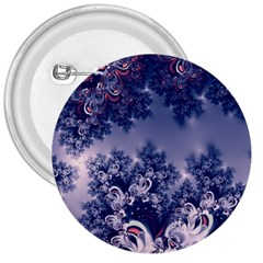 Pink And Blue Morning Frost Fractal 3  Button by Artist4God