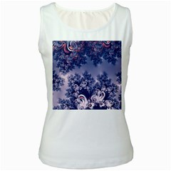 Pink And Blue Morning Frost Fractal Women s Tank Top (white) by Artist4God