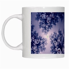 Pink And Blue Morning Frost Fractal White Coffee Mug by Artist4God
