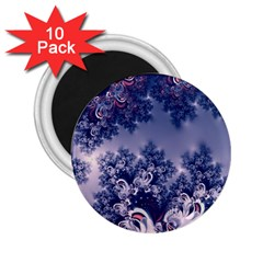 Pink And Blue Morning Frost Fractal 2 25  Button Magnet (10 Pack)