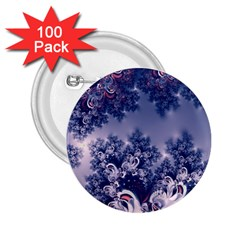 Pink And Blue Morning Frost Fractal 2 25  Button (100 Pack) by Artist4God