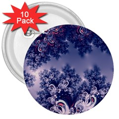 Pink And Blue Morning Frost Fractal 3  Button (10 Pack) by Artist4God
